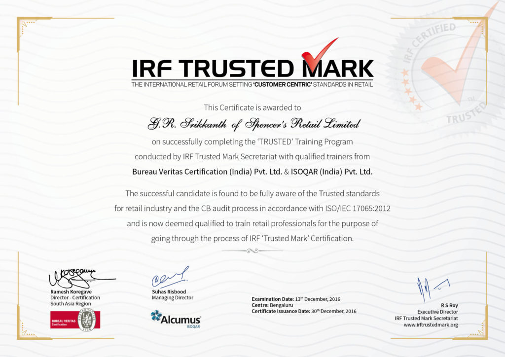 Sample Trusted Certificate – IRF Trusted Mark